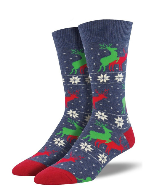 Men's Naughty Reindeer Games Crew Novelty Socks
