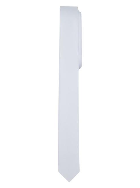 Men's White Ultra Skinny Solid Color Necktie