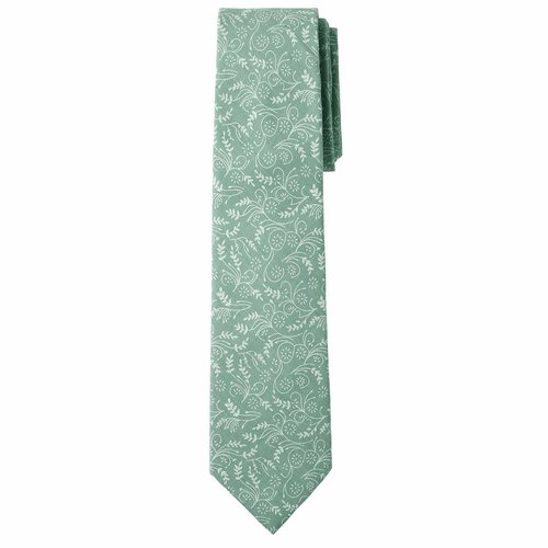 Dusty Sage Floral Cotton Slim Tie