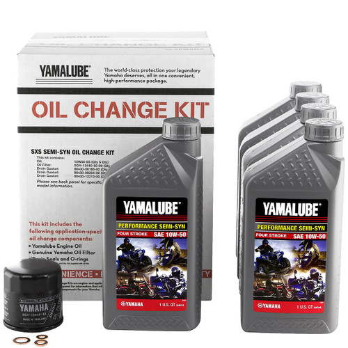 Semi Synthetic 10W-50 Yamalube Oil Change Kit Contents Part #: LUB-SXSCG-KT-10