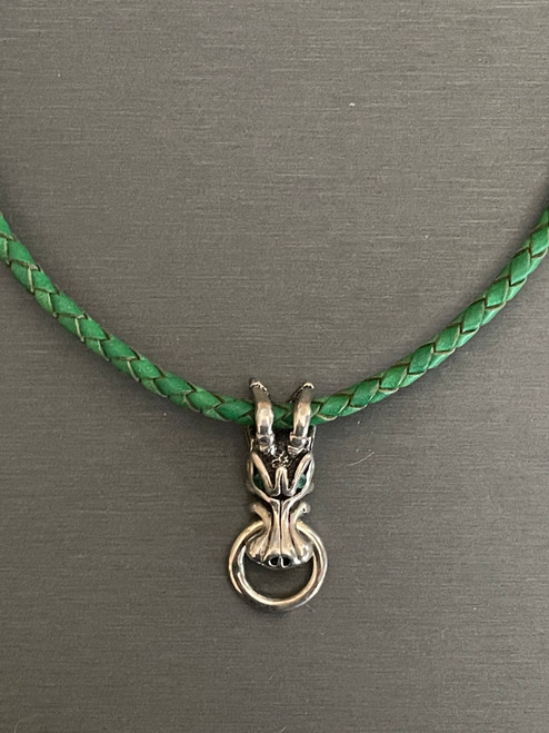 Silver Dragon on Green Leather Pendant with Emerald Eyes