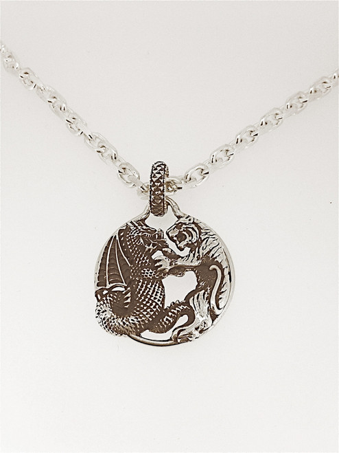 Sterling Silver Dragon & Tiger Pendant on Heavy Cable Chain
