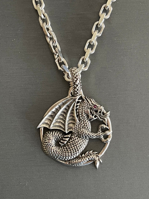 Dragon Pendant on Heavy Cable Chain Ruby Eye