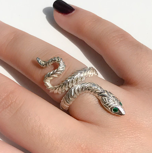 Snake Ring with Ruby, Sapphire or Emerald Eyes