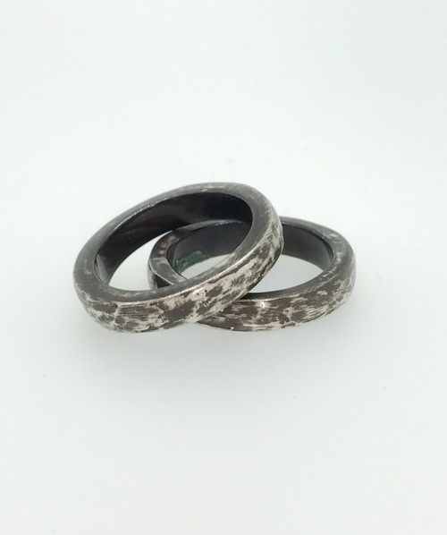 Stackable Oxidized Silver Chunky Ring