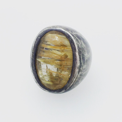 Sterling Silver Oxidized Rutillated Quartz Statement Ring!