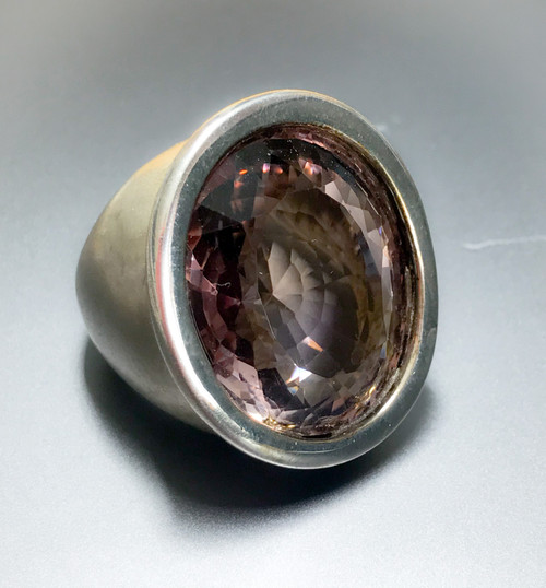 Sterling Silver Large Smokey Topaz Statement Ring