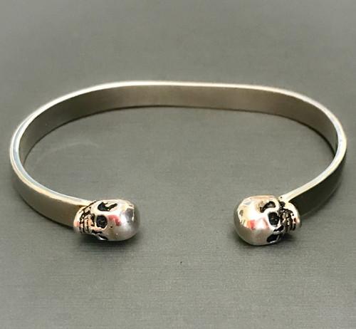 Dia de los Muertos Sterling Silver Skull Cuff Bracelet