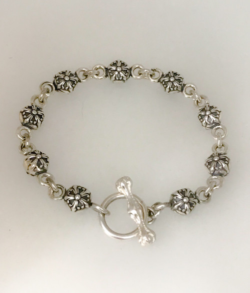 Lucky Star Solid Sterling Silver Bracelet with Toggle Clasp