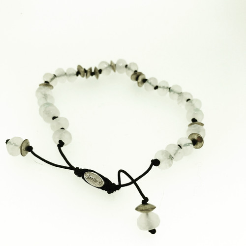 Rock Crystal & Sterling Silver String Bracelet