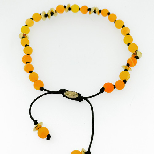 Orange Agate & Vermeil Accents String Bracelet