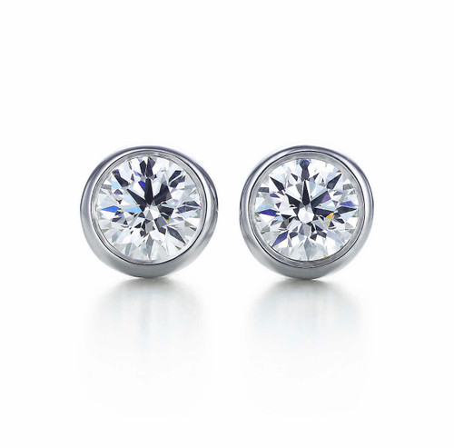 Bezel Set Natural Diamond Stud Earrings 1/2 Carat TW