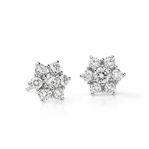 Small Natural Diamond Cluster Flower Earring Studs