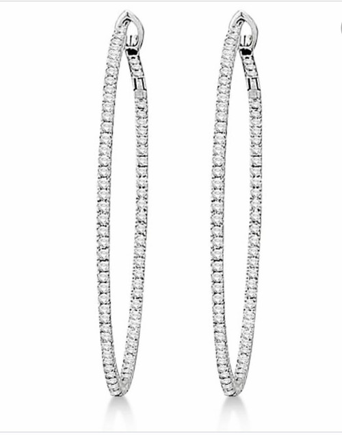 Natural Diamond Medium Inside Out Hoop Earrings in 18kt White Gold