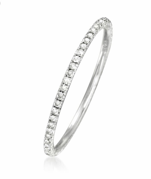 Natural Diamond Petite Wedding Ring in 18kt White Gold