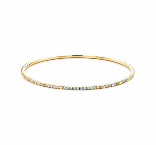 Natural Diamond French Pave Bangle Bracelet in 18kt Yellow Gold
