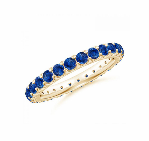 Natural Blue Sapphire Eternity Band in 14kt Yellow Gold