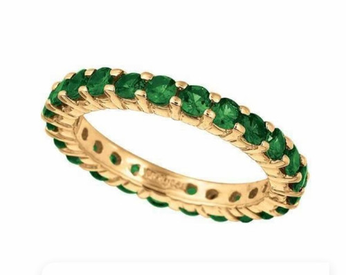 Natural Tsavorite Eternity Ring in 14kt Yellow Gold