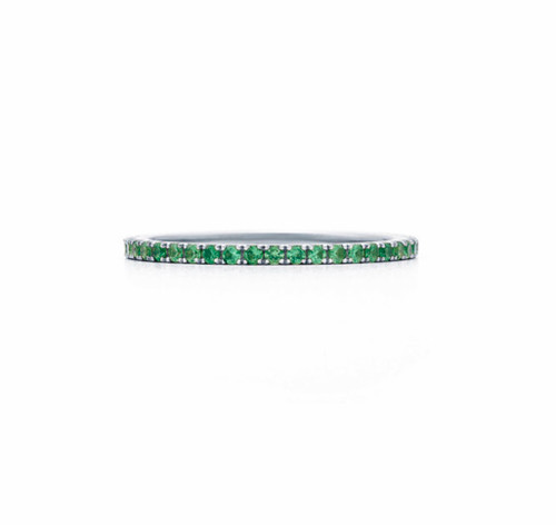Natural Tsavorite Eternity Ring in 18kt White Gold