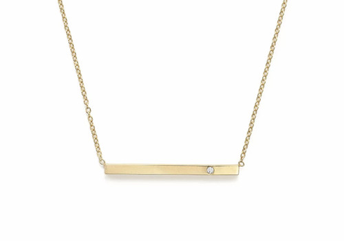 14kt Yellow Gold Bar Necklace with Diamond