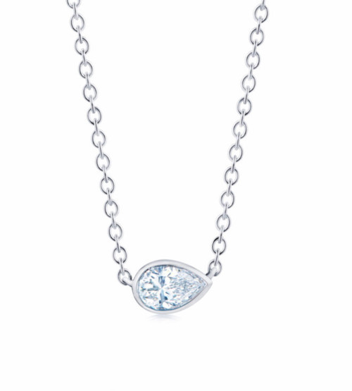Natural Single Diamond Pendant Bezel Set Pear Shape Set East-West