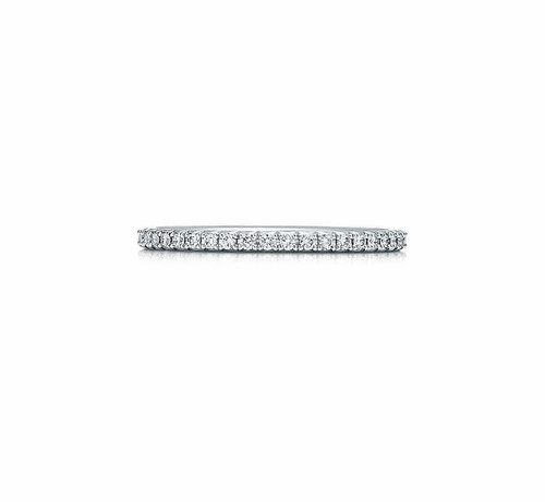Natural Diamond Part Way Wedding Band in 18kt White Gold