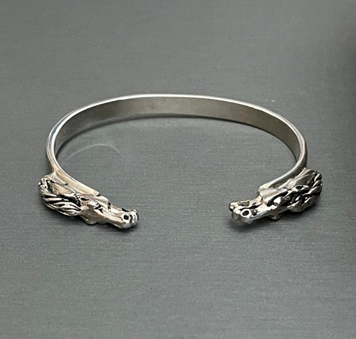 Equine Sterling Silver Double Horse Head Cuff Bracelet