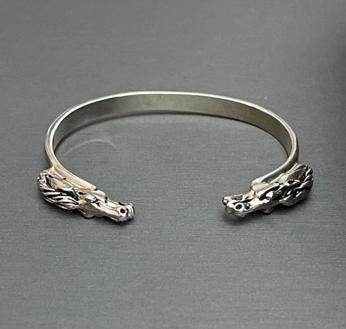 Sterling Silver Double Horse Head Cuff Bracelet