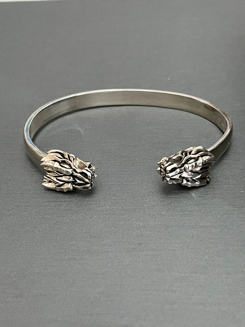 Sterling Silver Mini Dragon Head Cuff Bracelet