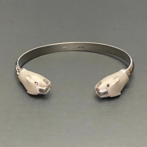 Sterling Silver Panther Cuff Bracelet with Natural Cognac Eyes