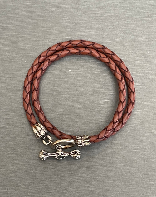 Double Leather Bracelet with Silver Toggle Clasp