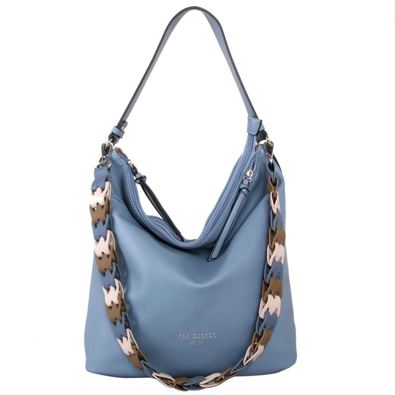 4c63ddd92490 Red Cuckoo Dusky Blue Shoulder Bag with Contrast Strap