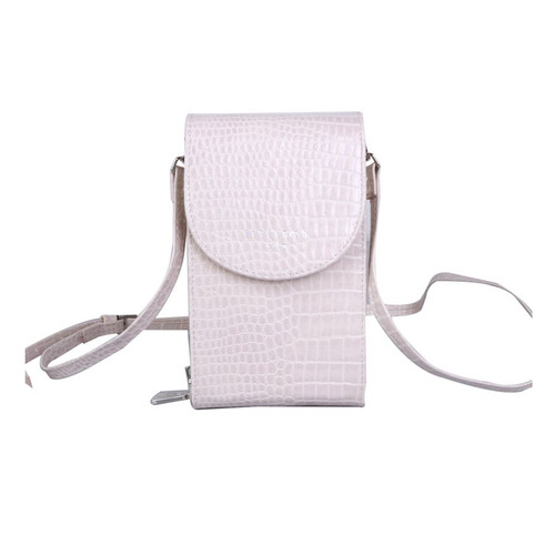 Red Cuckoo Crocodile Effect Cross Body Pouch in Cream
