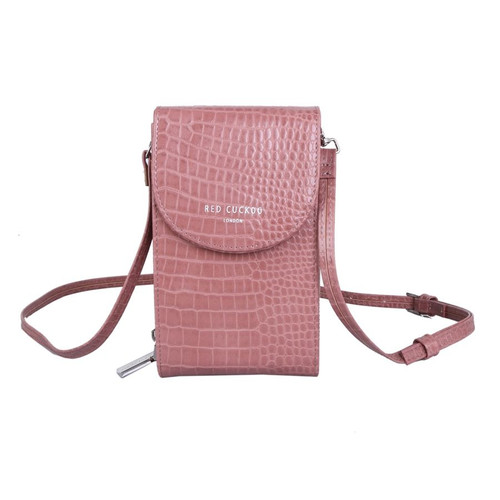 Red Cuckoo Crocodile Effect Cross Body Pouch in Pink