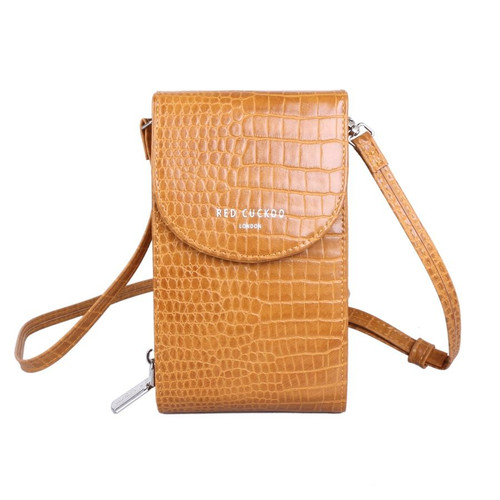 Red Cuckoo Crocodile Effect Cross Body Pouch in Mustard