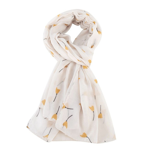 Miss Sparrow Tulip Doodle Scarf in White