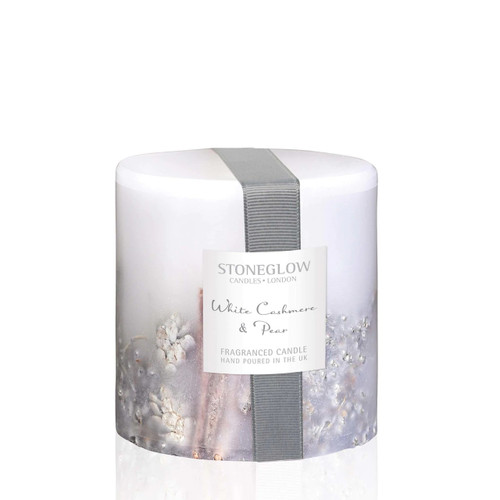 Stoneglow White Cashmere & Pear Fat Pillar Candle