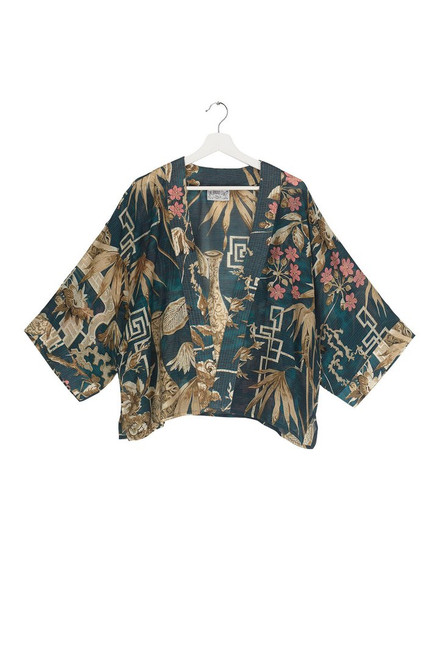 One Hundred Stars Bamboo Teal Kimono