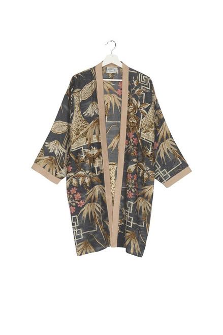 One Hundred Stars Bamboo Slate Grey Collar Kimono