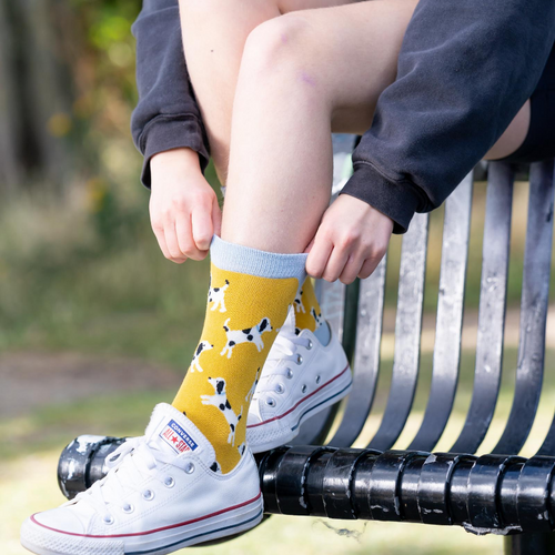 Miss Sparrow Little Dalmatians Socks in Yellow