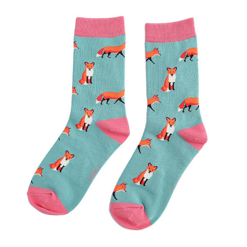 Miss Sparrow Fox Socks in Green
