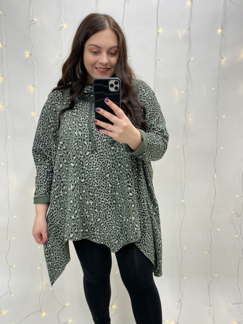 Nellie Drawstring Roll Neck Leopard Print Tunic | Green