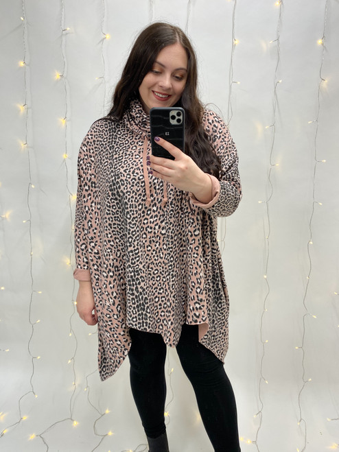 Nellie Drawstring Roll Neck Leopard Print Tunic | Pink