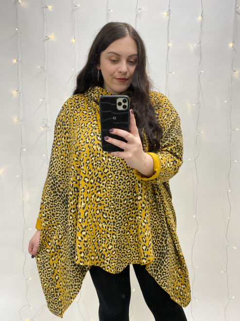 Nellie Drawstring Roll Neck Leopard Print Tunic | Mustard