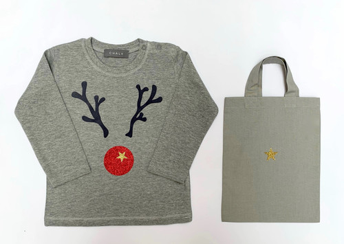 Christmas Toddler T-Shirt by Chalk | Giant Red Reindeer | 2-4 Years