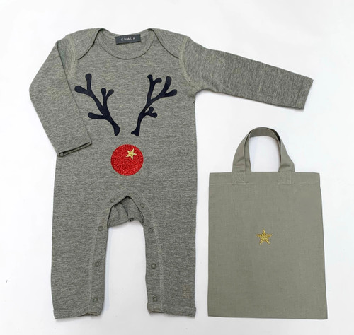 Christmas Rompasuit by Chalk | Giant Red Reinder | 3-6 Months