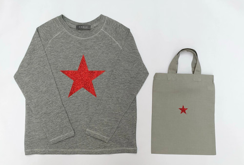 Christmas Toddler T-Shirt by Chalk | Red Glitter Star | 5-7 Years