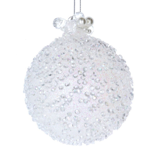 White Beads & Pearls Glass Bauble