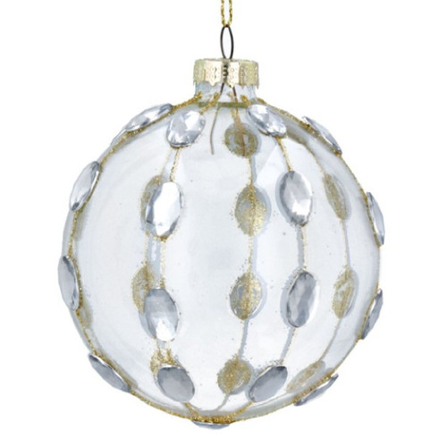 Clear/Silver Diamante Glass Bauble