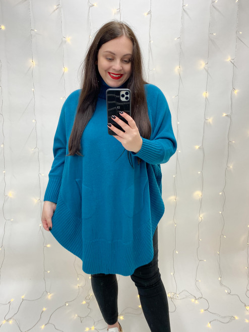 The Birdie Roll Neck Jumper | Teal